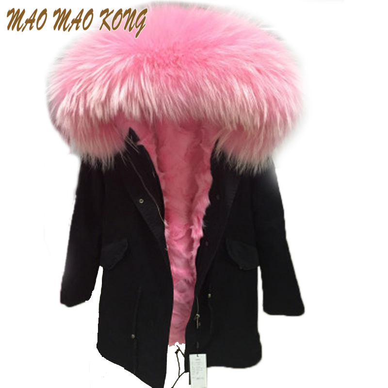 High fashion cold winter outwear 2019 new natural fox real fox fur lined parka with natural big size raccoon fur collar trim