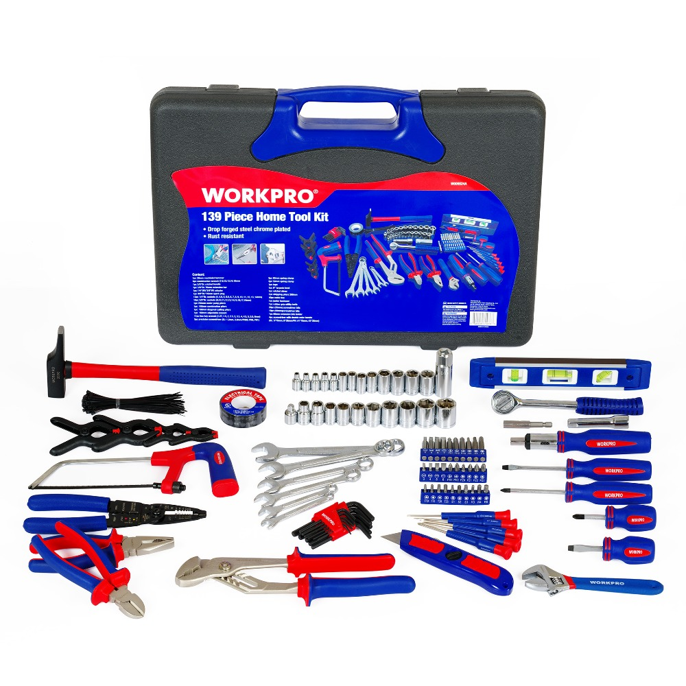 Pliers Spanner WORKPRO Set Tools Set 139PC Home Screwdrivers Sockets Wrench Tool Household
