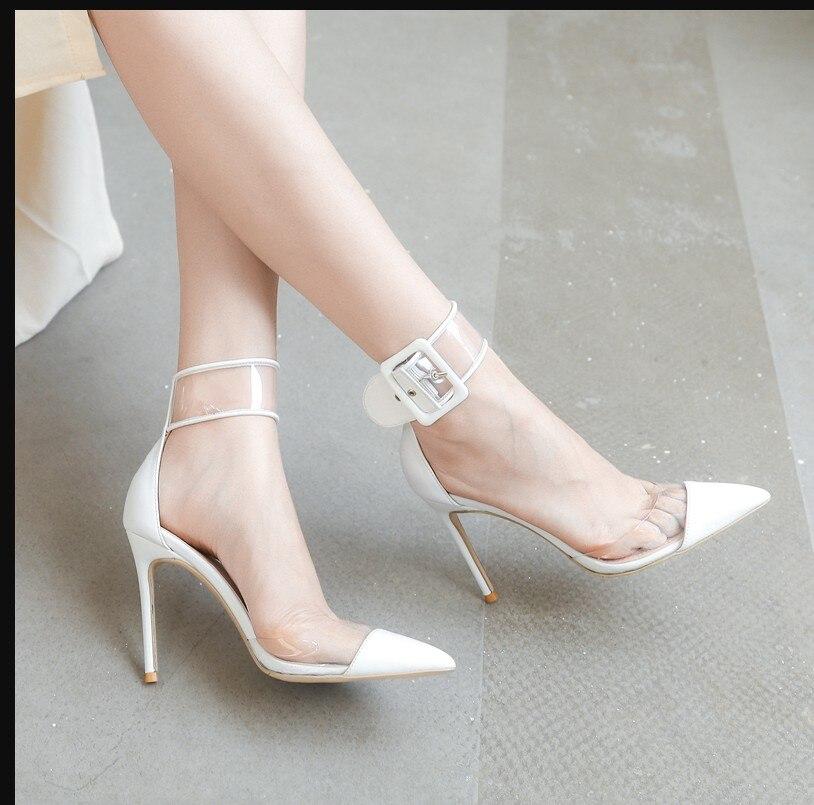 Femme Boucle En Suédé Couleur Chaussures Sexy Pointu Grande Haut Blanc Hauts rouge Talons Lady Bout Talon Pvc Rouge Noir Cuir blanc Noir À vxXxC4cwqE