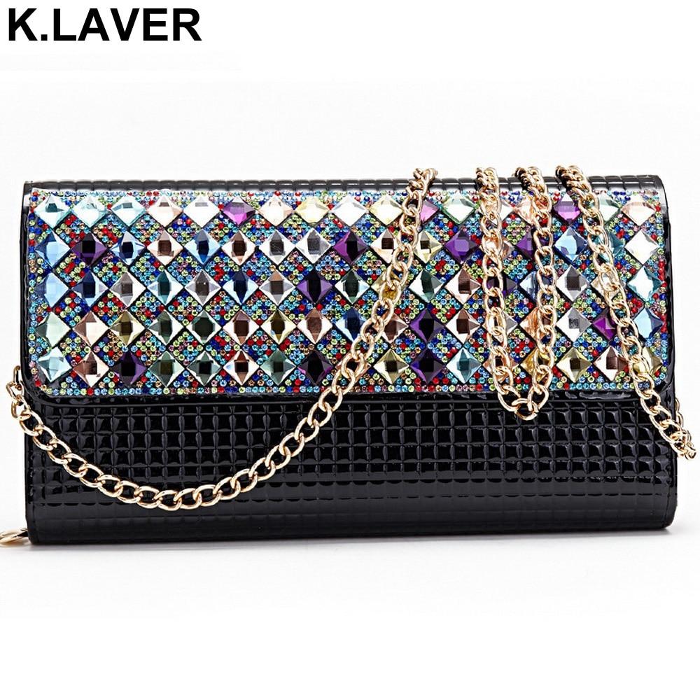 Women patent leather chain rhinestone day clutch purse wedding crystal diamond purses Evening bag handbags bolsas shoulder bags