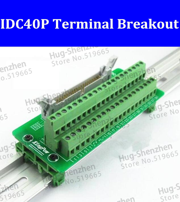 IDC40P IDC 40 Pin Male Connector to 40P Terminal Block Breakout Board Adapter PLC Relay Terminals DIN Rail Mounting--1pcs/lot 2pcs hdmi 2 0 hd adapter male connector breakout to 19p terminal board no need soldering high quality with housing shell