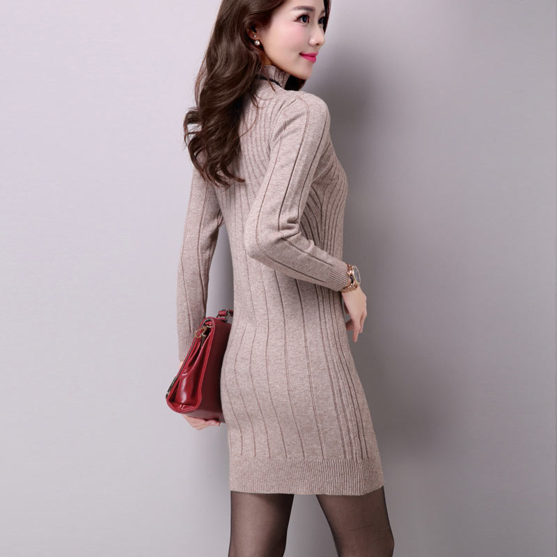 b8b9ac1b29a7 UPPIN 2017 Autumn Winter New Middle aged Women Long Paragraph Wool  Bottoming Shirt Wild Warm Slim Package Sweater Dress Female -in Pullovers  from Women s ...