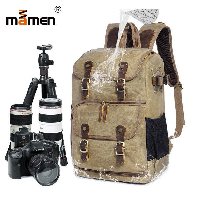 Mamen Camera Bag Waterproof Lens Monopod Flash Shoulder Bag High Capacity 30*16*42cm Canvas Retro Outdoor Tripod Travel Bag 2018
