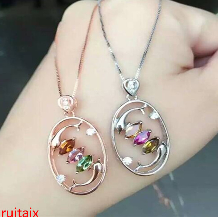 KJJEAXCMY boutique jewels S925 silver rose tourmaline oval pendant jewelry natural gem delivers box chain mail.