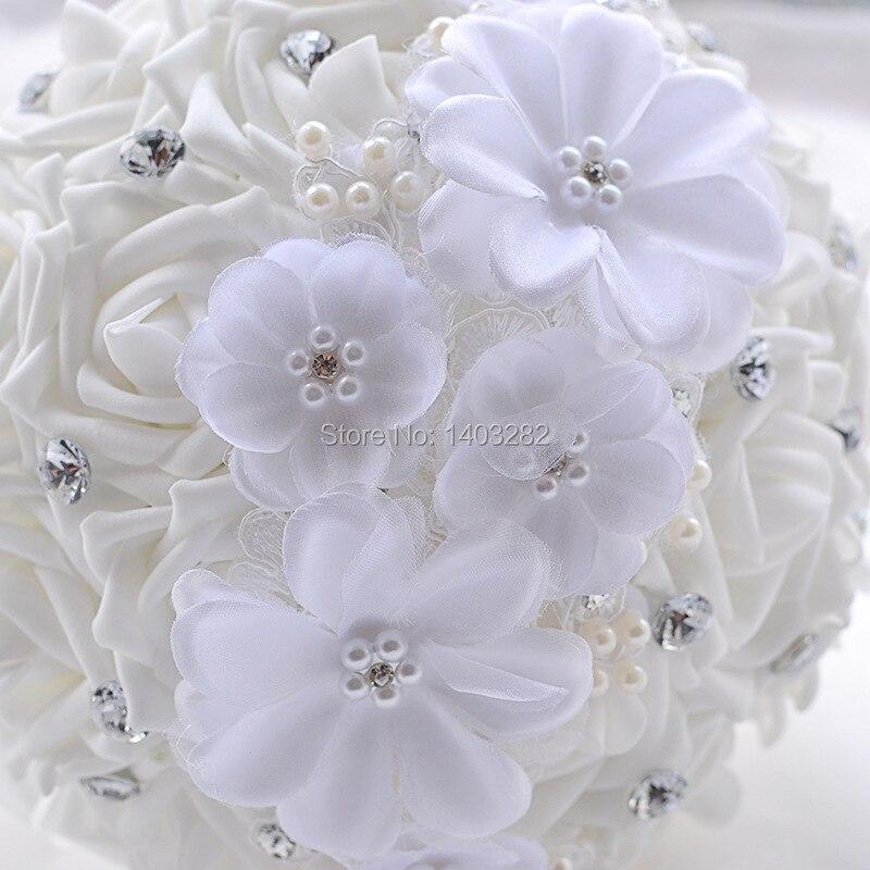 2016 Luxury Crystal Wedding Bouquets White Bridal Silk Bouquet Mariage Handmade Bridesmaid Bouquets Ramos De Novia  3
