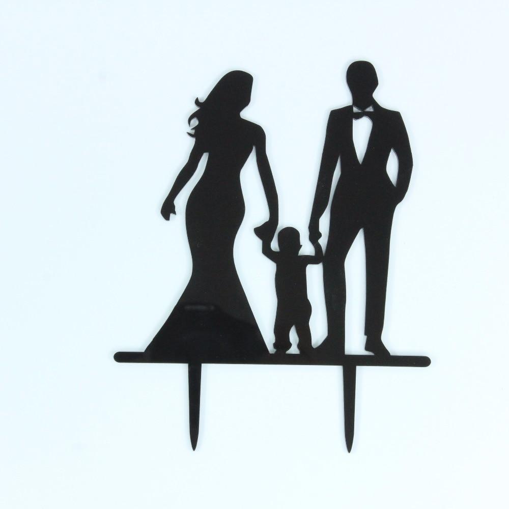 Família Feliz Casamento Toppers Do Bolo com o Menino, Noiva e Noivo - Para feriados e festas
