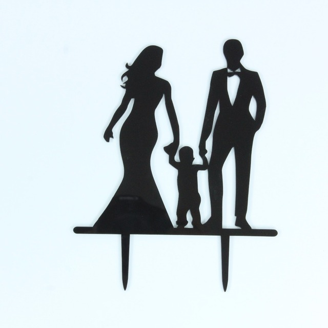Happy Family Wedding Cake Toppers with Boy, Bride and Groom ...