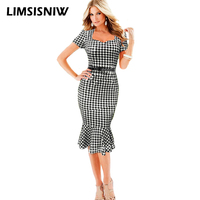 LIMSISNIW Dogtooth Square Collar Women Pencil Mermaid Black Dress Office Lady Tailored Ruffles Middle Work Dress