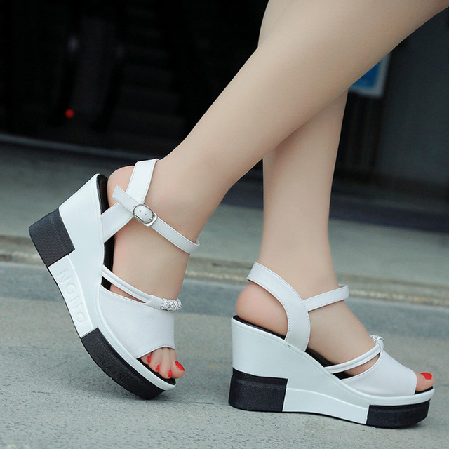 2bcfb7a4e126 Fashion Sandals Summer Wedges Women s Sandals Platform Lace Belt Bow Flip  Flops open toe high-heeled Women shoes Female