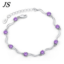 Js femenino bisel tenis pulsera Amatista Braclet para para púrpura Cristal joyería Pulseras de Plata Pulceras Feminina SB014