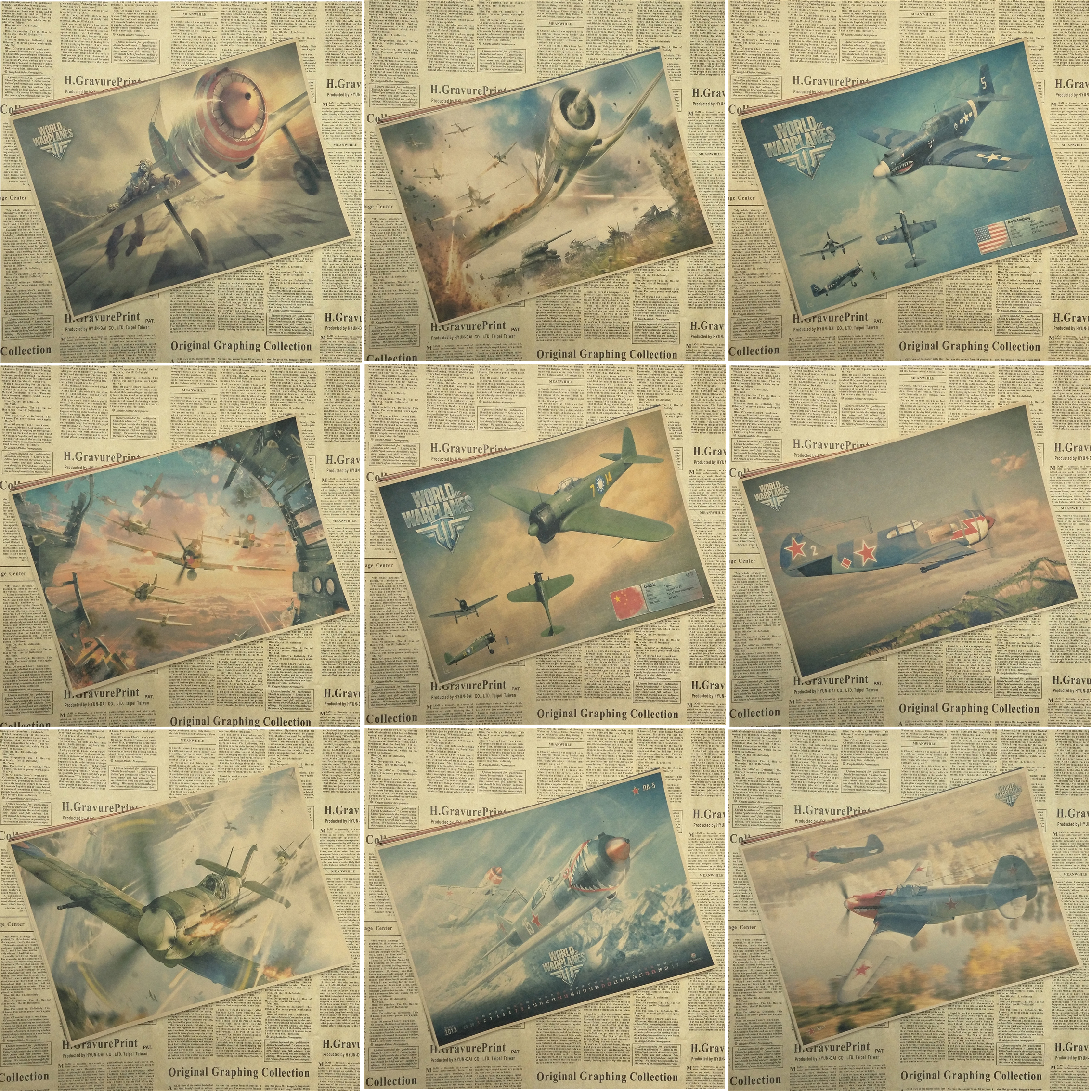 World of Warplanes DogFighter Shooting Game Poster Home Furnishing decoration Kraft Game Poster Drawing core Wall stickers