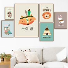 Cartoon Fox Lion Rabbit Owl Raccoon Tent Wall Art Canvas Painting Nordic Posters And Prints Pictures Kids Baby Room Decor
