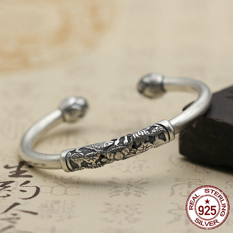100% S925 man woman bracelet retro personality simple jewelry lotus fish opening a lifetime bracelet to send a gift of 2018 hot destinations of a lifetime