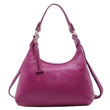 KEYTREND Genuine Leather Women Shoulder Bags Hobos Handbags Tassel Casual Totes Bag Ladies Small Messenger Crossbody Bags KSB109