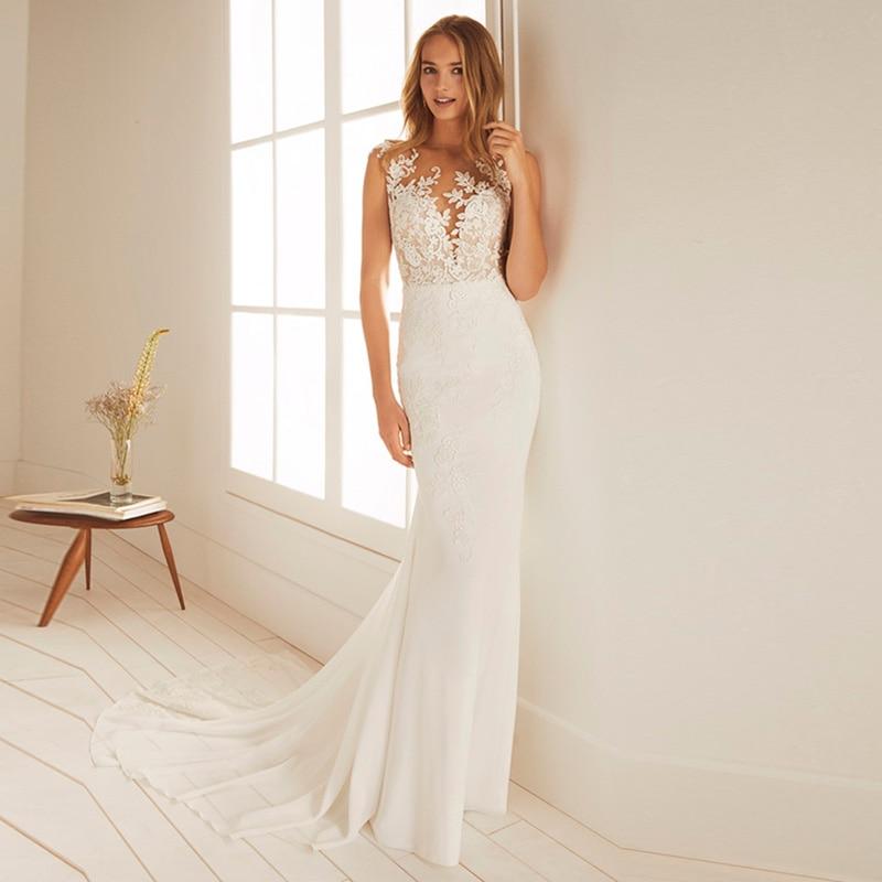Eightale Mermaid Wedding Dresses 2019 O Neck Appliques Boho Bridal Gowns illusion Back Chiffon Wedding Party