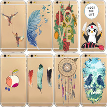 Fashion Silicon shell Transparent Feather Leaves Soft TPU Gel Case For iphone 6 6s 6 S Lovely Pattern Phone Back Cover Coque