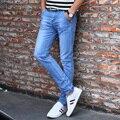 Classic Men Jeans Pant Nuevo 2016 Estilo Coreano de la Marca de Mezclilla Jeans ajustados Pantalones de Los Hombres Masculinos Ropa Azul Sólido Ocasional de Los Hombres pantalones