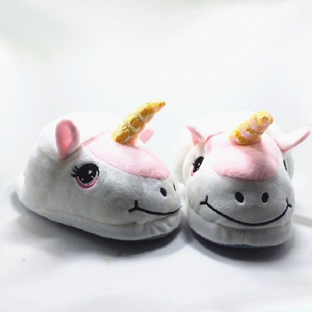 Accueil Chaussons Pantoufles unicornes unisexes en peluche Pantoufles en coton d'hiver Pantoufles Une taille pour tous 2017 Ad5Qft