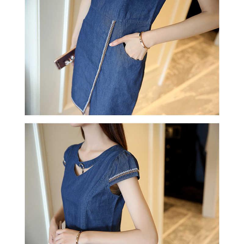 Летнее джинсовое платье для женщин 2019New корейский тонкий короткий рукав джинсовые платья Vestidos офисное платье женская одежда плюс размер 680