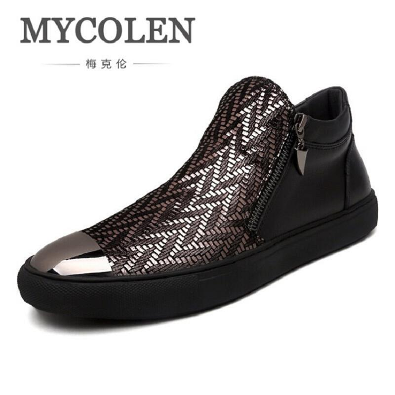 MYCOLEN Men Boots Winter Shoes Fashion Bling Men Leisure Boots Zipper Male Ankle Boots Black Men Shoes Scarpe Uomo Di Marca mycolen new autumn winter men black casual shoes men high tops fashion hip hop shoes zapatos de hombre leisure male botas