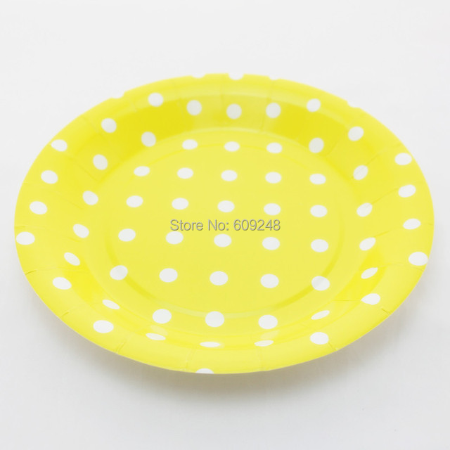 24pcs 9  Birthday Wedding Holiday White Polka Dot Yellow Kids Paper Plates Bulk Round Party  sc 1 st  AliExpress.com & 24pcs 9