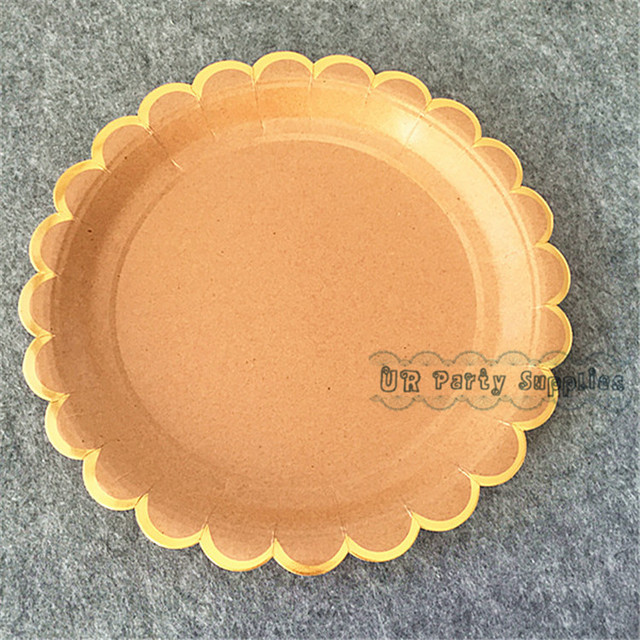 Free Ship 24pcs KRAFT PAPER PLATES Brown with Gold Foiled Scallop Design Large 9 inch Luxury : brown paper plates - pezcame.com