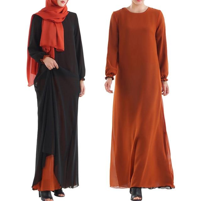 Muslim Women Wear On Both Sides Dubai Abaya Maxi Dresses Islamic Clothing Women Casual Long Sleeve O-Neck Casual Dress a417 4