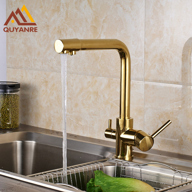 Gold plated Kitchen Sink Faucet Pure Water Dual Handle Two Water Out ...