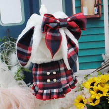 OnnPnnQ Pet Dog Winter Shoulder-Straps Dress + Coats Warm Clothes For Small Dogs Thicken Red Lattice Skirts Chihuahua Outfits(China)