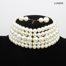 1Pcs/set Cool Pearl Choker Necklace New Fashion Simulated Pearl Bead Women Necklace Party Jewelry(China)