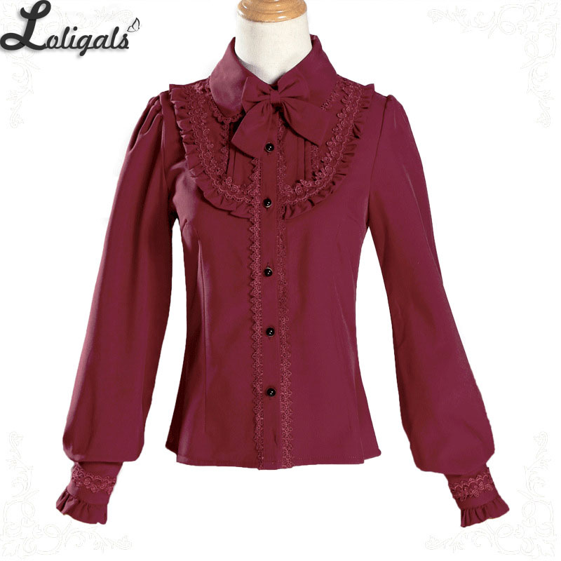 Warm Thick Women's Winter Shirt Long Sleeve Fleeced Lolita Blouse Female Blusas With Bowknot