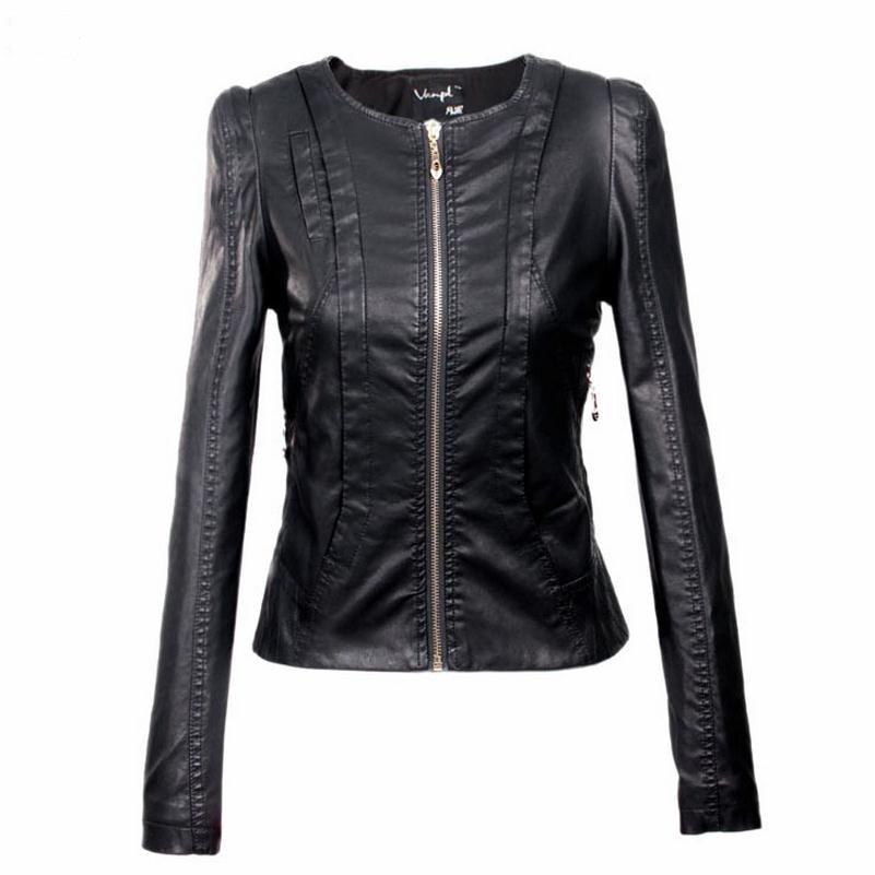 XS min size and 3XL Plus Size Stitching PU leather jacket 2017 women's new motorcycle leather jacket Slim short jackets w626