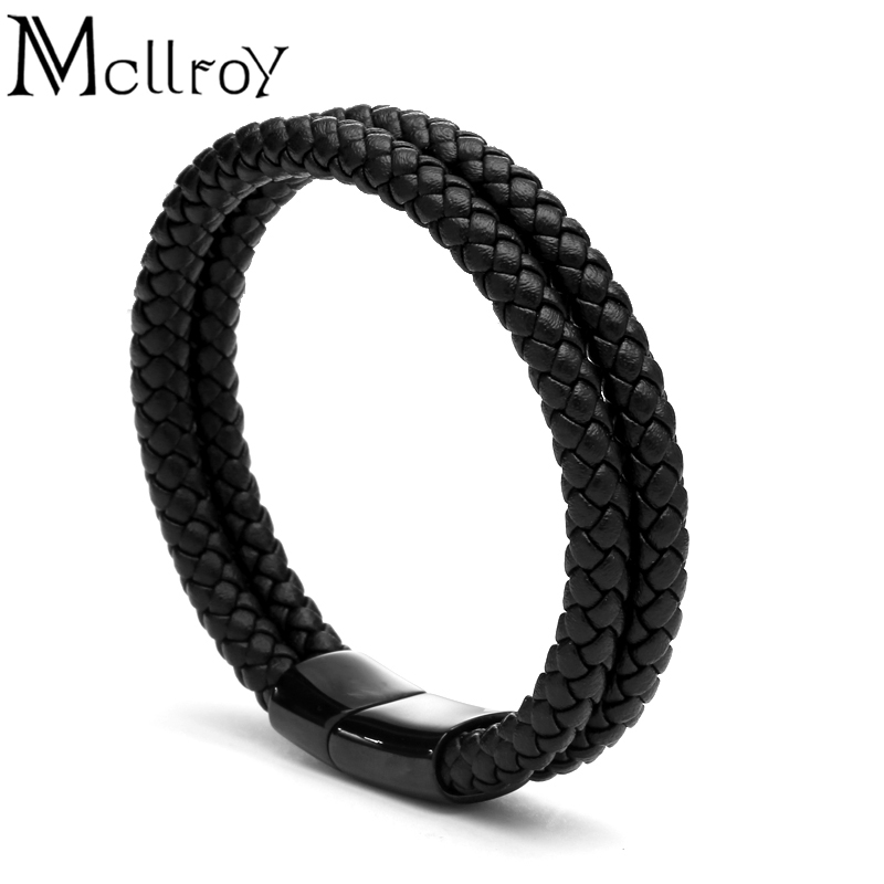 Mcllroy Leather bracelet Genuine cow skin Double Titanium Stainless steel button Braid bangle Trendy Men jewelry gifts for men