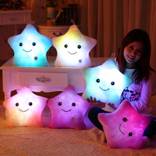 Hot 5 Colors Glow In The Dark LED Plush Star Cushion Light Pillow party supplies Valentine's day Gift Toy For Children