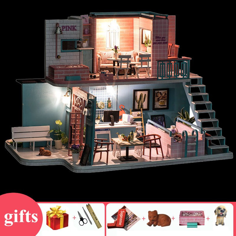 Pink cafe large doll house <font><b>1:12</b></font> wine with led light swimming pool wooden <font><b>miniature</b></font> diy <font><b>dollhouse</b></font> kits speelgoed voor kinderen image