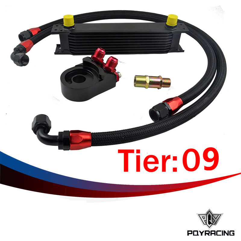 ФОТО PQY RACING- Universal 9 ROWS OIL COOLER ENGINE +AN10 Oil Filter Cooler Sandwich Plate Adapter Black+2PCS NYLON BRAIDED HOSE LINE