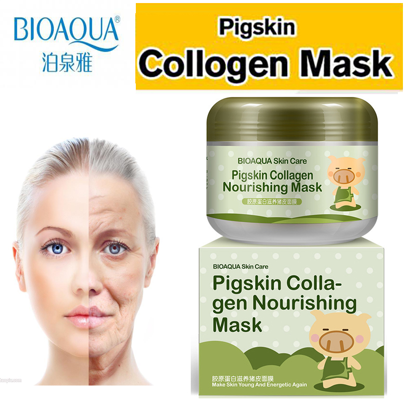 Korean Collagen Pig Skin Face Mask 100g Anti Aging Cream Anti Wrinkle Magic Facial Mask Ageless Products Cosmetics bioaqua argireline matrixyl 3000 peptide cream hyaluronic acid ha wrinkle collagen firm anti aging skin care equipment free shipping