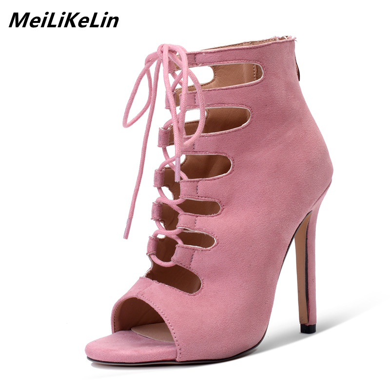 MeiLiKeLin Gladiator Boots Women Summer Shoes 2018 Cross-tied Open Toe Thin High Heel Ankle Boots Sandals Shoes Woman Loose Shoe phyanic platform gladiator sandals 2017 new casual wedge shoes woman summer women ankle boots side zipper party shoes phy5036