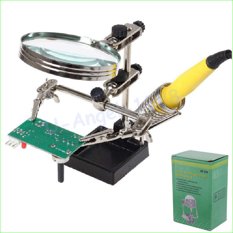 1 set Multifunctional Soldering IRON Welding Stand Desktop 2X Magnifier LENS Third Helping Hands Solder Allegator Clips 2017 wire with stand set welding soldering solder iron tip cleaner cleaning steel 1pcs