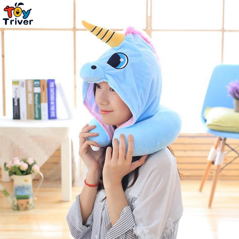 Unicorn Plush Toy Triver Cosplay Hat U Shape Travel Neck Pillow Office Car Airplane Headrest Cushion For Sleep Drop Shipping