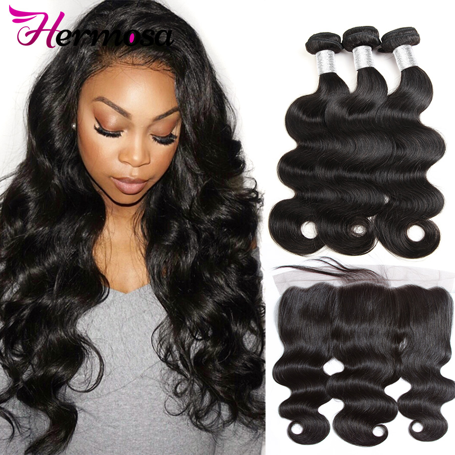 Hermosa Human-Hair Closure Bundles Lace-Frontal Body-Wave with 13x4/ear-To-Ear