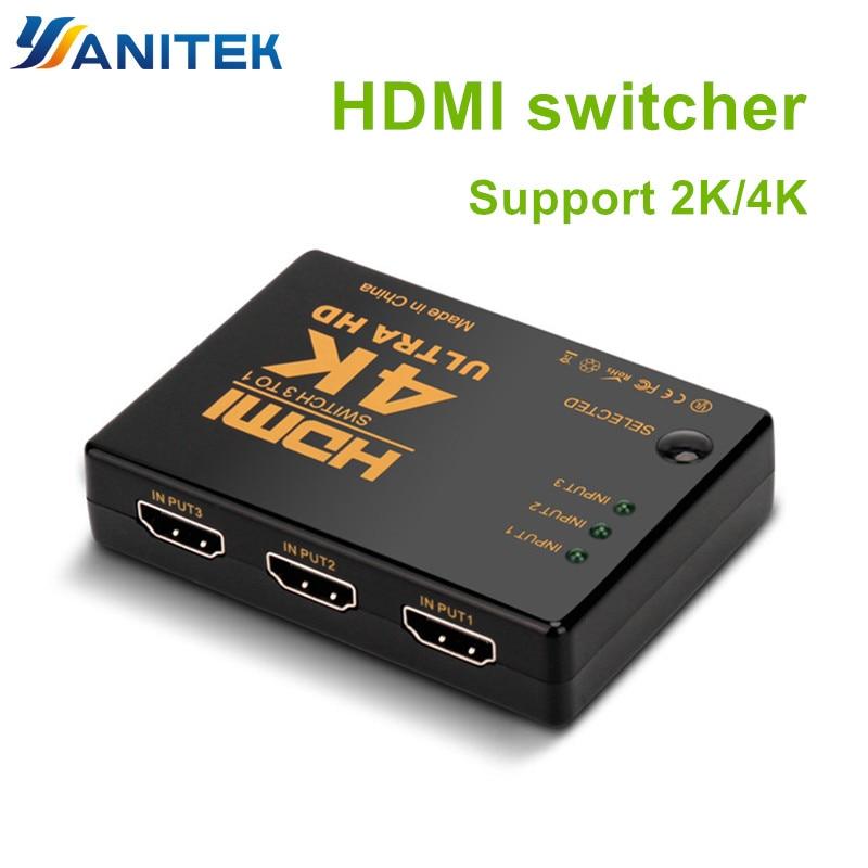 Perlinta HDMI Switch, 3 Port 4K*2K Switcher Splitter Box Ultra HD For DVD HDTV Xbox PS3 PS4