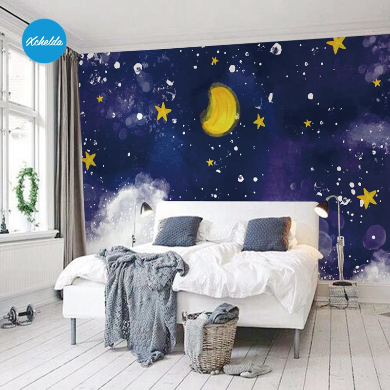 XCHELDA Custom 3D Wallpaper Design Blue Sky Moon Photo Kitchen Bedroom Living Room Wall Murals Papel De Parede customize leaves blue sky and white clouds 3d ceiling murals wallpaper living room bedroom