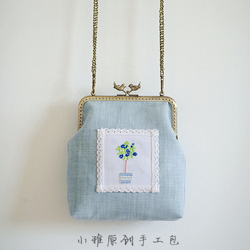 Angelatracy 2019 New Arrival French Embroidery Floral Flower Bird Metal Lace Mori Fresh Blue Linen Cotton Women Crossbody Bags in Top Handle Bags from Luggage Bags