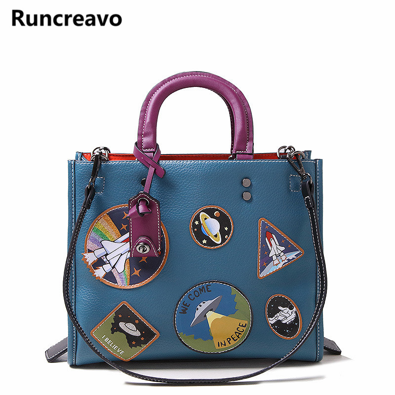 2018 new trend portable retro Shoulder Messenger bag PU fashion handbags Cartoon map badge Europe and the United States tote bag