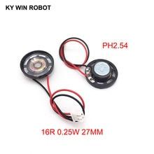 2pcs New Ultra-thin Toy-car horn 16 ohms 0.25 watt 0.25W 16R speaker Diameter 27MM 2.7CM with PH2.54 terminal wire length 10CM