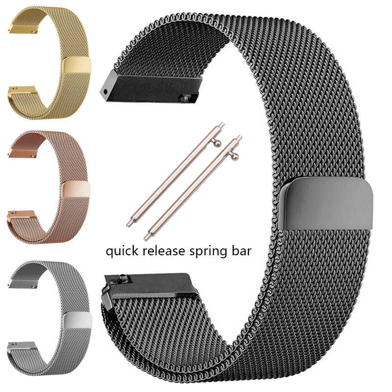 Stainless Steel Watchband Gelang 16 18 20 22 24 Mm untuk Gear S3 S2 Mesh Milanese Loop Starry-Eyed magnetic Penutupan Gesper