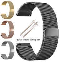 In Acciaio Inox Cinturini Braccialetto 16 18 20 22 24 millimetri Per Gear S3 S2 Maglia Ciclo Milanese Watch Band Cinturino chiusura magnetica Fibbia