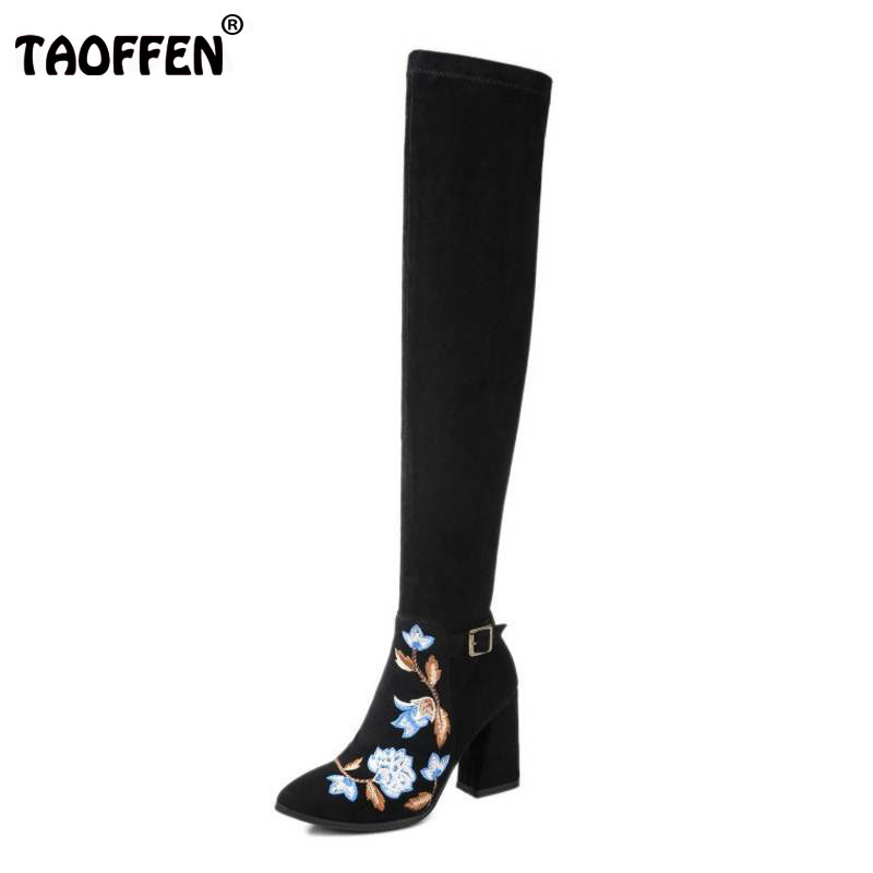 TAOFFEN Brand Winter Shoes Women Real Leather Thick High Heel Over Knee Boots Women Embroidery Flower Elastic Boots Size 34-39 цена