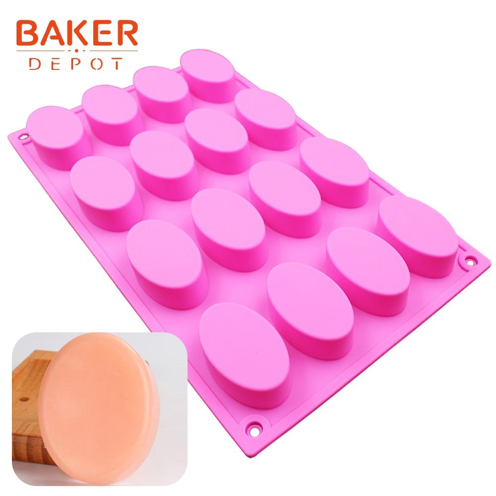 BAKER DEPOT סיליקון בעבודת יד סבון עובש צורה עגלגלית עוגה כלי אפייה שוקולד פודינג ג'לו תבניות עובש תבניות סבון